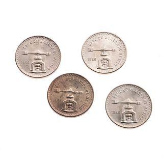 Cuatro monedas en plata .925 Onza Troy. Peso: 134.6 g.