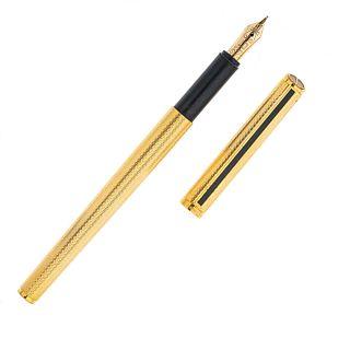 Pluma fuente Dunhill. Cuerpo en acero dorado. Punto en oro amarillo de 14k.