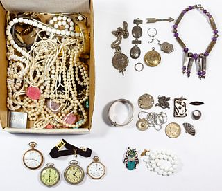 Sterling Silver, Costume Jewelry and Pocket Watch Assortment
