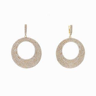 12.72TCW Designer Diamond Hoop Earrings