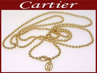 Cartier 18k Yellow Gold Bead Link Chain Necklace