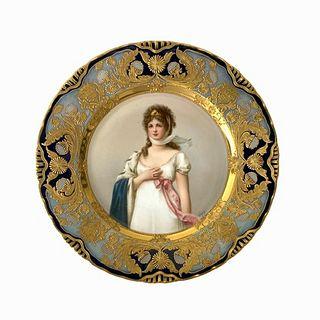 Antique Royal Vienna Portrait Porcelain Plate