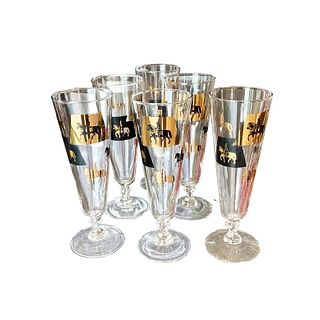 6 Vintage Beer Schooners with Knight Etching