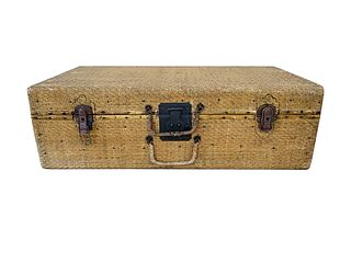 19th Century, Antique woven straw wicker suitcase