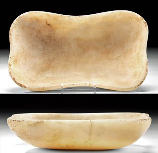Egyptian Early Dynastic Banded Alabaster Dish