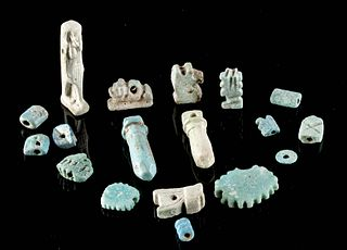 18 Egyptian Glazed Faience Amulets / Beads