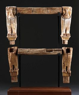 Egypt Late Dynastic Wood Throne Legs w/ Lions