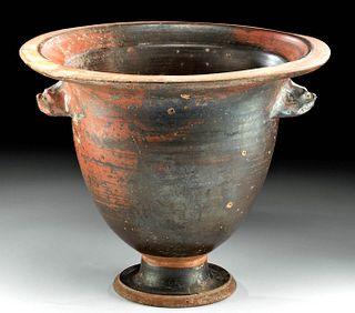 Greek Apulian Blackware Bell Krater Zoomorph Handles