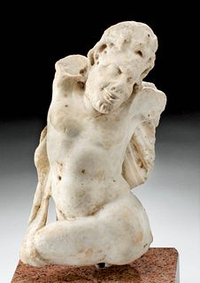Roman Marble Statue of Satyr God Pan, ex-Sotheby's
