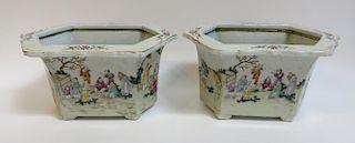 Pair Porcelain  Jardineres