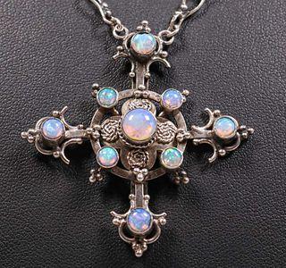 Australian Opal Arts & Crafts Sterling Silver Cross