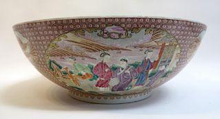 Large Export Porcelain Punch Bowl