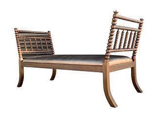 English Day Bed with Turned Wood Frame