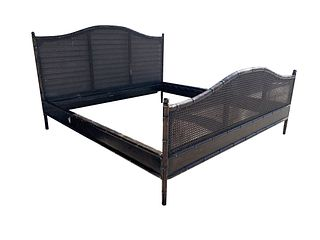 Vintage King Size Bed in Faux Bamboo & Rattan