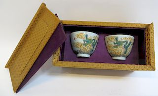Pair 18th C. Famille Rose Bowl In Old Box