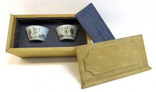 Pair Fine 19th C. Boxed Tea Cups