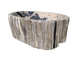 Large Petrified Wood Bowl / Wash Basin