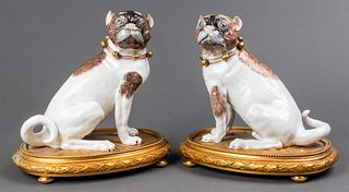 Dresden Porcelain Pug Dog Sculptures, Pair