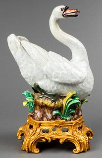 Meissen Porcelain Swan on Gilt Bronze Base
