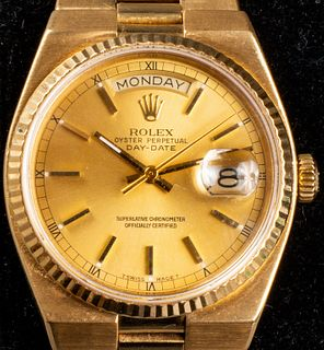 Rolex 18K Yellow Gold Day-Date Wristwatch, 1982