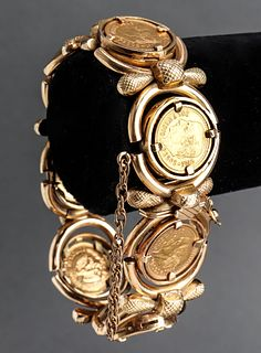 18K & 14K Yellow Gold Mexican Pesos Coin Bracelet