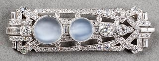 Art Deco Platinum, Diamond & Moonstone Brooch
