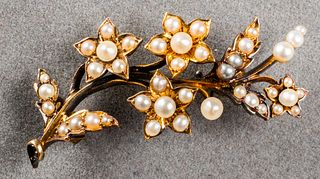Antique 14K Yellow Gold Seed Pearl Brooch / Pin