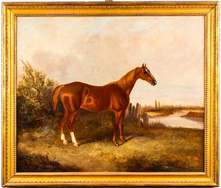 Antique British School Equestrian Portrait Oil