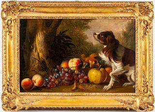 R.R. Reinagle Setter with Still Life Oil on Canvas