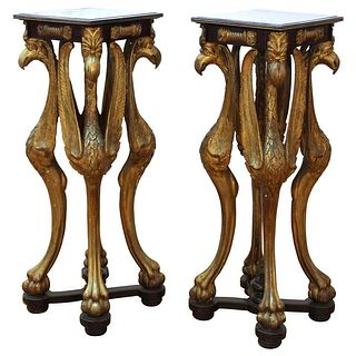 Empire Neoclassical Revival Carved Bird Pedestals