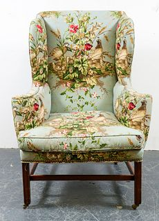 Scalamandre Upholstered Georgian Wingback Armchair