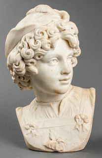 Carved Marble Portrait Bust Of A Young Man