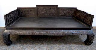 Carved Zitan Bed
