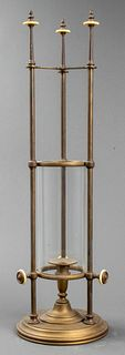 Brass Candle Holder with Hurricane Glass Shade