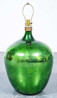 Large Modern Green Mercury Glass Table Lamp