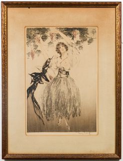 "Louis Icart ""Autumn Grapes"" Colored Etching"