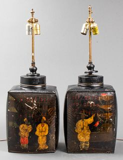 Chinoiserie Black Tole Canister Form Lamps, Pair