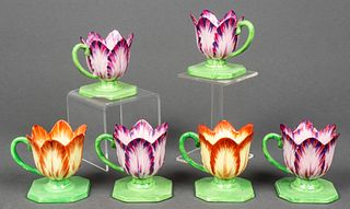 Mottahedeh Pottery Tulip Candle Holders, 6