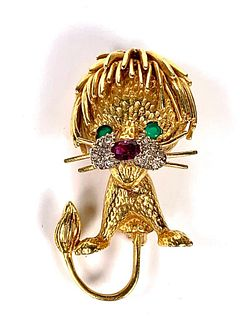 18k Yellow Gold Lion Brooch with Gemstones