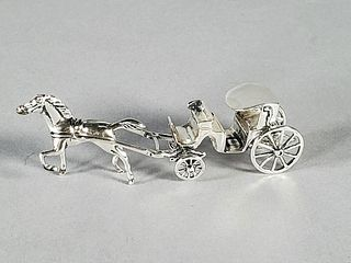 Sterling Silver Miniature Horse Drawn Carriage