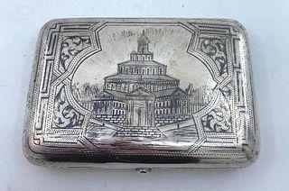 Russian Silver and Niello Cigarette Case, 19thc.