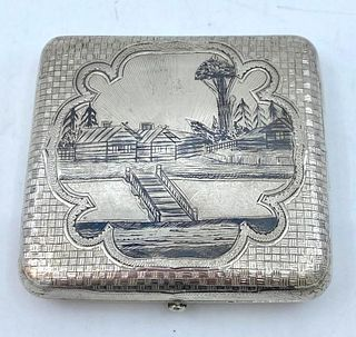 Russian Silver and Niello Cigarette Case, Moscow, 1890