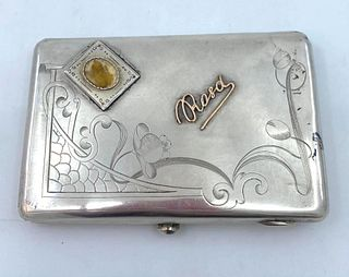 Russian Silver and Gold Cigarette Case, Moscow, 20thc.