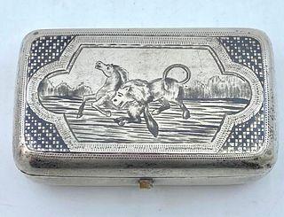 Russian Silver and Niello Cigarette Case, 1880
