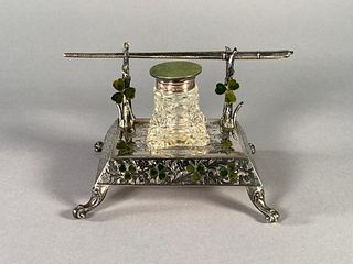An English Silver and Enamel Inkstand, Birmingham, 1901