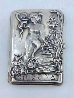 """Russian Silver Cigarette Case, """"Medicina"""""""