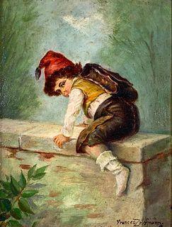 Frances Z.Hofmann Oil, Boy Climbing a Wall