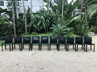 Cassina Cab - Black Leather - Set of 10 Chairs