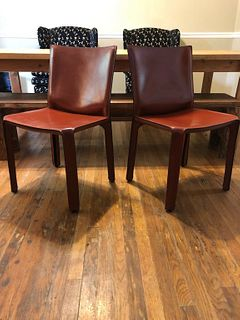Cassina Cab - Burgundy Leather - Set of 2 Chairs