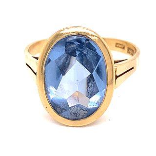 18K British Blue Topaz Ring